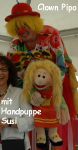 Clown Pipo mit Puppe Susi